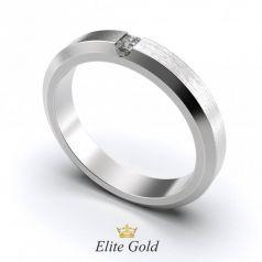 Авторское обручальное рельефное кольцо Stella с камнем