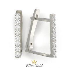 серьги Zoe с дорожкой камней в белом золоте