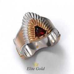 Фантазийное рельефное мужское кольцо Trillion с камнем