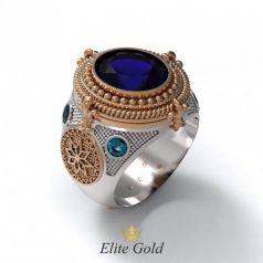 Фантазийное мужское кольцо с узорами и камнями