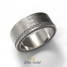 Эксклюзивное рельефное обручальное кольцо Bonnie с камнями по ободку