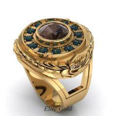 Фантазийное мужское кольцо Magic с крупным камнем и узорами