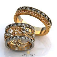 Винтажные обручальные кольца Paris с россыпью камней