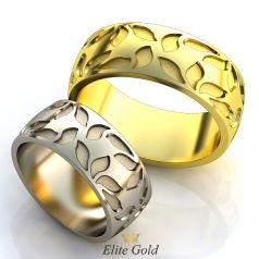 Авторские рельефные обручальные кольца Petali с узорами по ободку