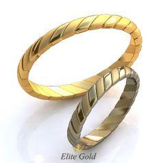 Тонкие обручальные кольца Espara с рельефными элементами
