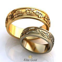 Обручальные кольца Asteria в старославянском стиле с ветвями дуба и березы