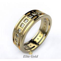Дизайнерское кольцо Modernita в камнях по ободку