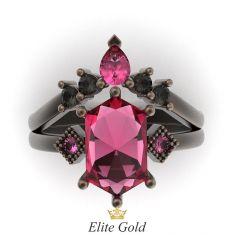 кольцо Black Swan в золоте 585 с чернением