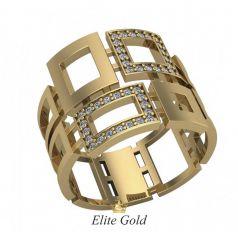 Дизайнерское женское геометрическое кольцо Piazza