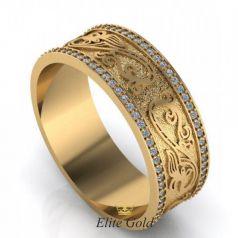 Дизайнерское женское кольцо Amore с камнями и узорами