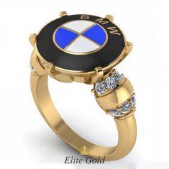 Эксклюзивное мужское кольцо BMW с ювелирной эмалью и камнями