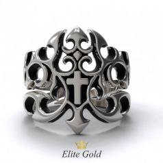 Эксклюзивное мужское кольцо Brutalita с узорами и крестом