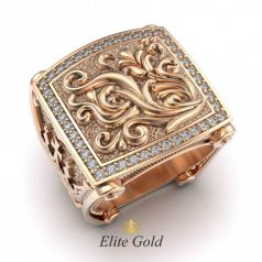 Дизайнерское мужское кольцо Coronacion с узорами и камнями