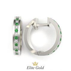 серьги-кольца Emerence с белыми и зелеными камнями в белом золоте