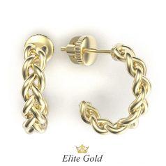серьги-кольца Tress с плетеным узором в лимонном золоте