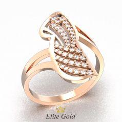 кольцо Amina в красном золоте 585 с белыми камнями