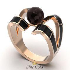 кольцо Perla Nera с черной эмалью и черной жемчужиной