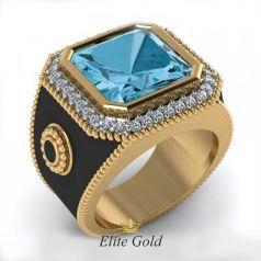 Дизайнерское мужское кольцо Precioso с эмалью и камнями