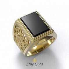 Эксклюзивное мужское кольцо Elegancia с ониксом и узорами
