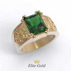 Эксклюзивное мужское кольцо Alexandro с узорами и крупным камнем