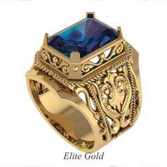 Эксклюзивный мужской перстень Miracolo с узорами и крупным камнем