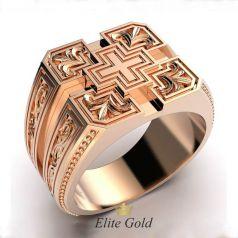 Авторский мужской рельефный перстень Cruzar с крестом