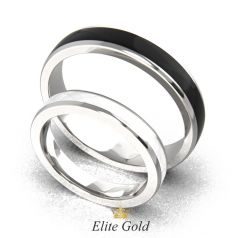 обручальные кольца Pallas с белой и черной эмалью