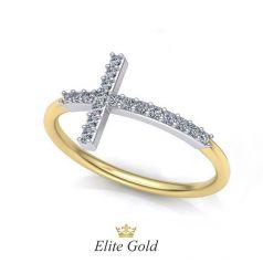 Авторское тонкое кольцо Cross в комбинированном золоте