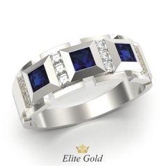 кольцо с тремя камнями квадратами