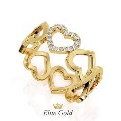 Авторское кольцо Cuori в виде сердечек