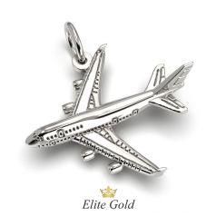 подвеска Traveler в виде самолета в белом золоте