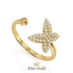 Авторское открытое кольцо Butterfly c бабочкой, покрытой камнями