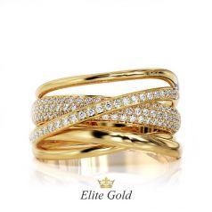 Авторское кольцо Wave с россыпью камней по диагонали