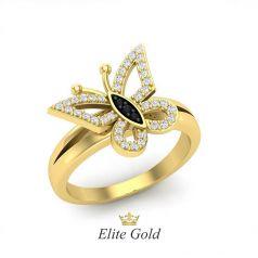 Дизайнерское кольцо Бабочка в камнях