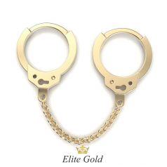 сдвоенные сережки Cuffs с цепочкой в желтом золоте