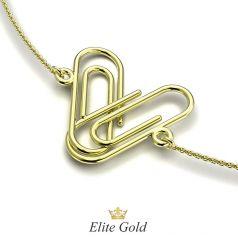 браслет скрепка в желтом золоте 585