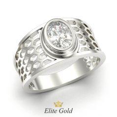 перстень в белом золоте с белым камнем
