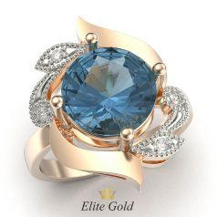 кольцо Arta c крупным голубым камнем