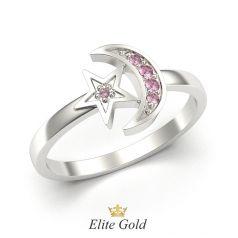 кольцо Estrella в виде луны и звезды в белом золоте