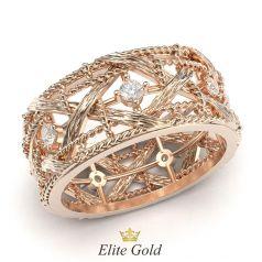 кольцо в стиле бренда Диор в красном золоте 585