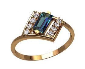 женское кольцо прямоугольной формы с камнями