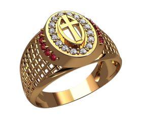 мужской перстень с крестом и камнями