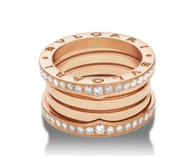 кольцо булгари с камнями по краю 4 спирали