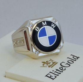 кольцо bmw x5 с эмалью и камнями  в белом золоте