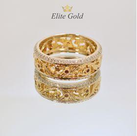 обручалки с узорами и камнями одно кольцо в красном и белом золоте