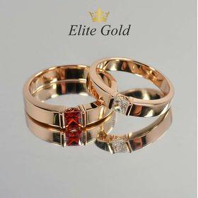 в красном золоте с квадратными камнями