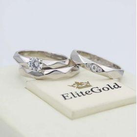 обручальные кольца вместе с помолвочным в белом золоте 585