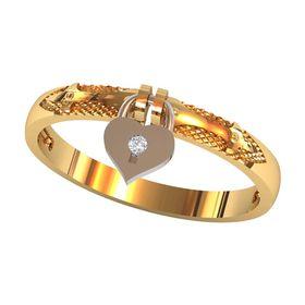 кольцо с замком-сердечком
