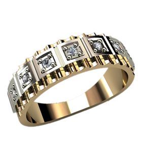 кольцо с рельефными гранями и накладками