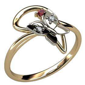 женское кольцо с бабочкой